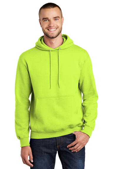 Port & Company PC90H Mens Essential Fleece Hooded Sweatshirt Hoodie Safety Green Front