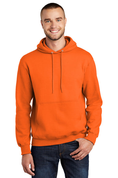 Port & Company PC90H Mens Essential Fleece Hooded Sweatshirt Hoodie Safety Orange Front