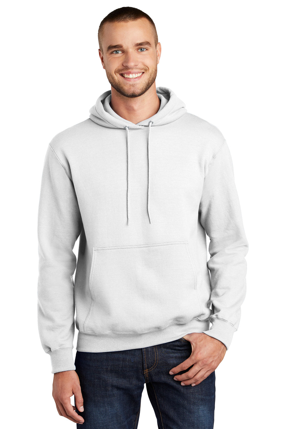 Port & Company PC90H Mens Essential Fleece Hooded Sweatshirt Hoodie White Front