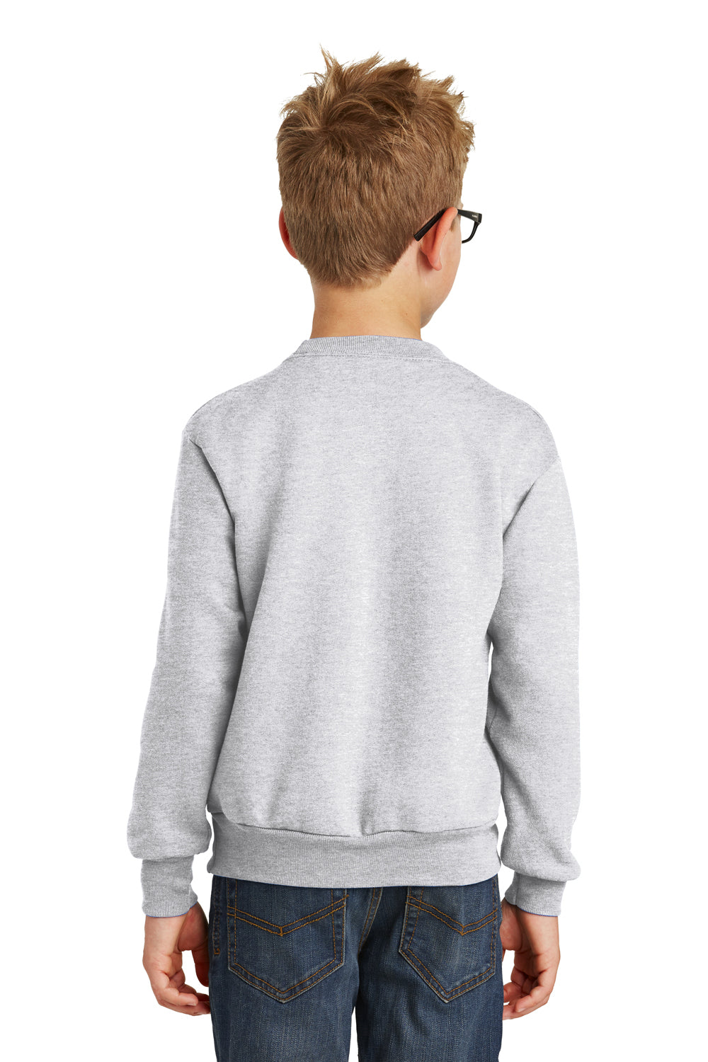 Port & Company PC90Y Youth Core Fleece Crewneck Sweatshirt Ash Grey Back