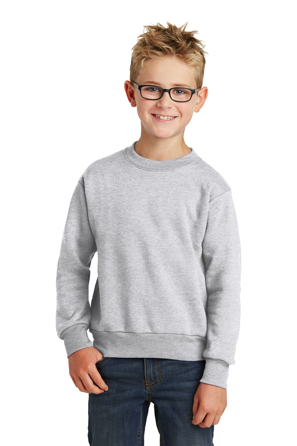 Port & Company PC90Y Youth Core Fleece Crewneck Sweatshirt Ash Grey Front