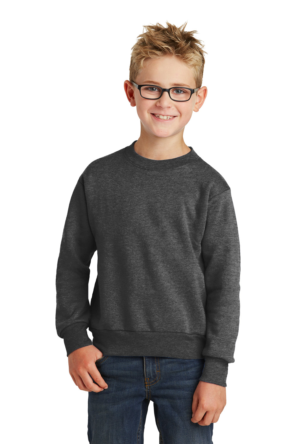 Port & Company PC90Y Youth Core Fleece Crewneck Sweatshirt Heather Dark Grey Front
