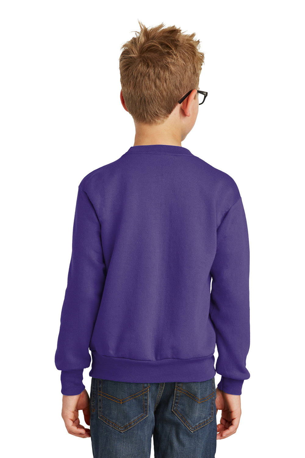 Port & Company PC90Y Youth Core Fleece Crewneck Sweatshirt Purple Back