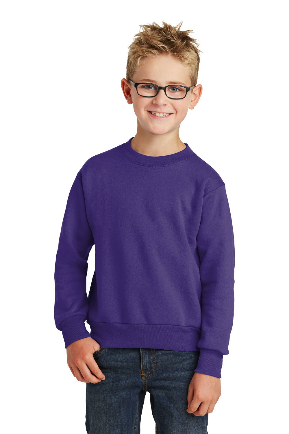 Port & Company PC90Y Youth Core Fleece Crewneck Sweatshirt Purple Front
