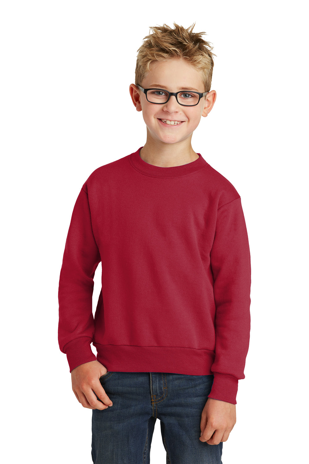 Port & Company PC90Y Youth Core Fleece Crewneck Sweatshirt Red Front