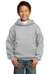 Port & Company PC90YH Youth Core Fleece Hooded Sweatshirt Hoodie Ash Grey Front