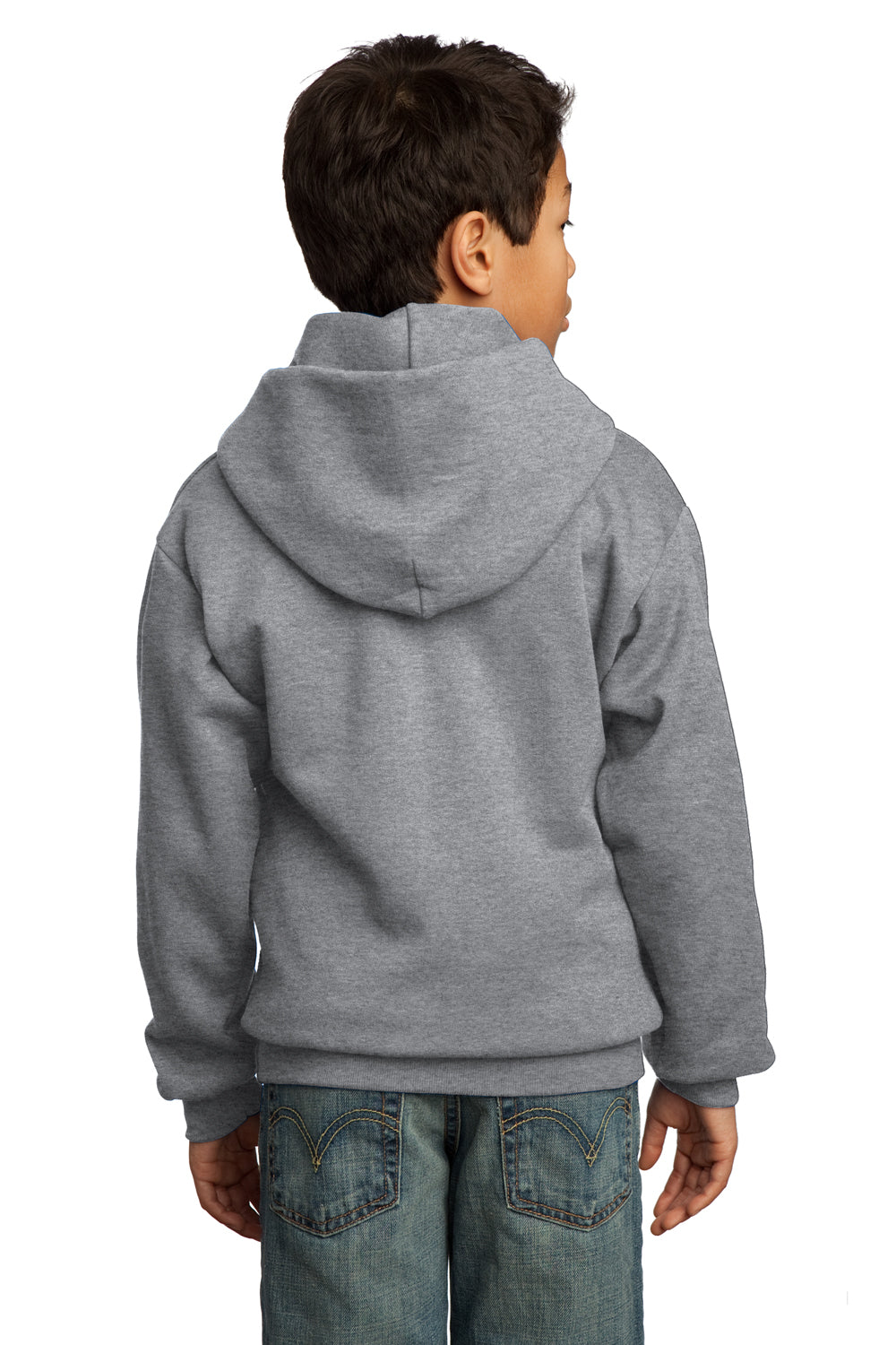 Port & Company PC90YH Youth Core Fleece Hooded Sweatshirt Hoodie Heather Grey Back