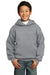 Port & Company PC90YH Youth Core Fleece Hooded Sweatshirt Hoodie Heather Grey Front