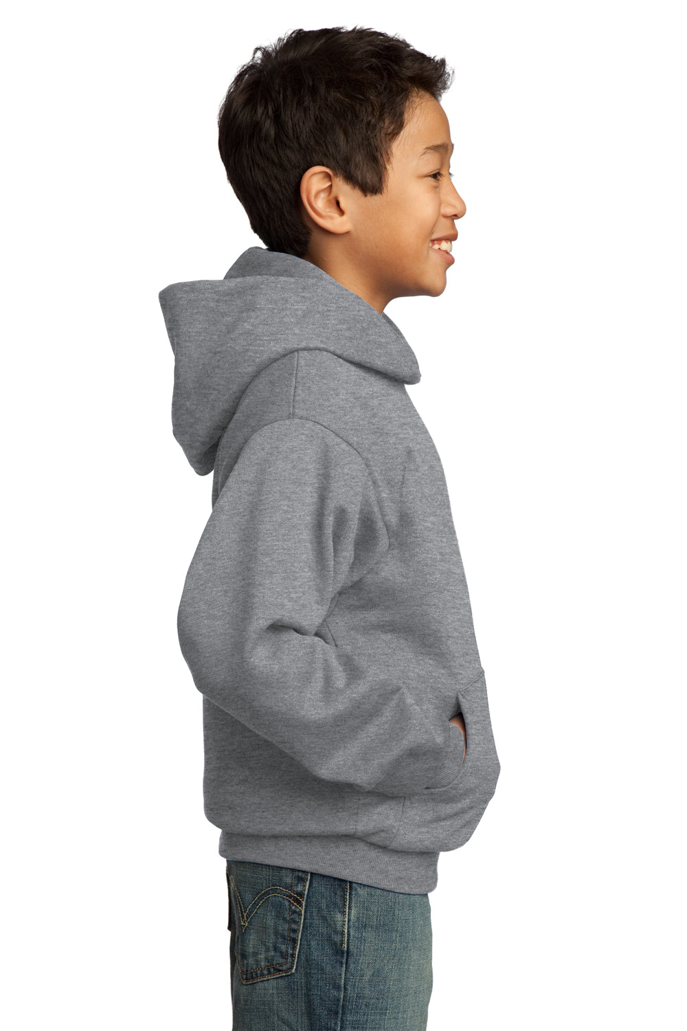 Port & Company PC90YH Youth Core Fleece Hooded Sweatshirt Hoodie Heather Grey Side