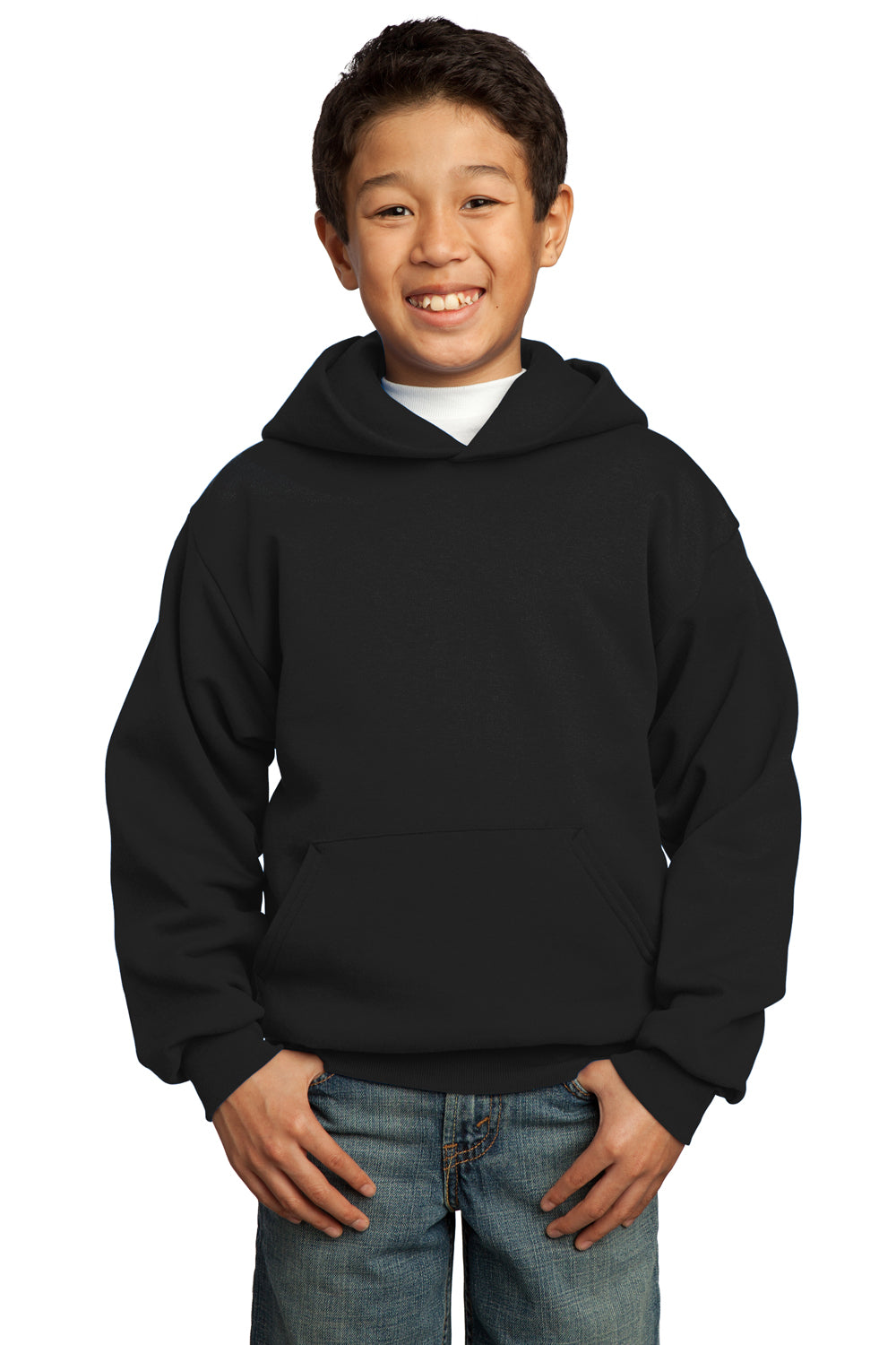 Port & Company PC90YH Youth Core Fleece Hooded Sweatshirt Hoodie Black Front