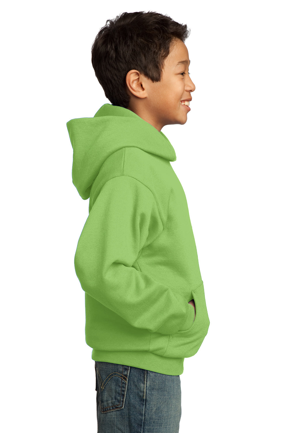 Port & Company PC90YH Youth Core Fleece Hooded Sweatshirt Hoodie Lime Green Side