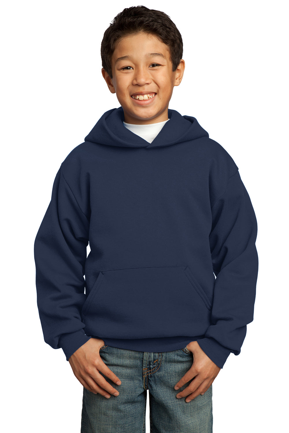 Port & Company PC90YH Youth Core Fleece Hooded Sweatshirt Hoodie Navy Blue Front