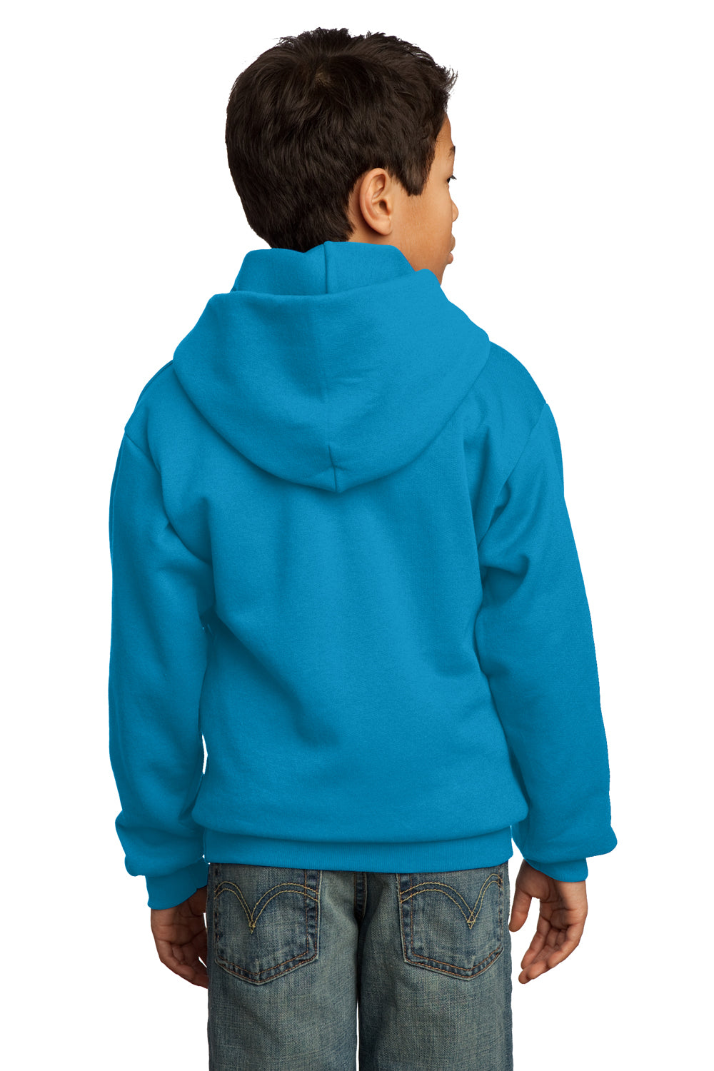 Port & Company PC90YH Youth Core Fleece Hooded Sweatshirt Hoodie Neon Blue Back