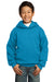 Port & Company PC90YH Youth Core Fleece Hooded Sweatshirt Hoodie Neon Blue Front