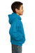Port & Company PC90YH Youth Core Fleece Hooded Sweatshirt Hoodie Neon Blue Side