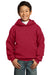 Port & Company PC90YH Youth Core Fleece Hooded Sweatshirt Hoodie Red Front