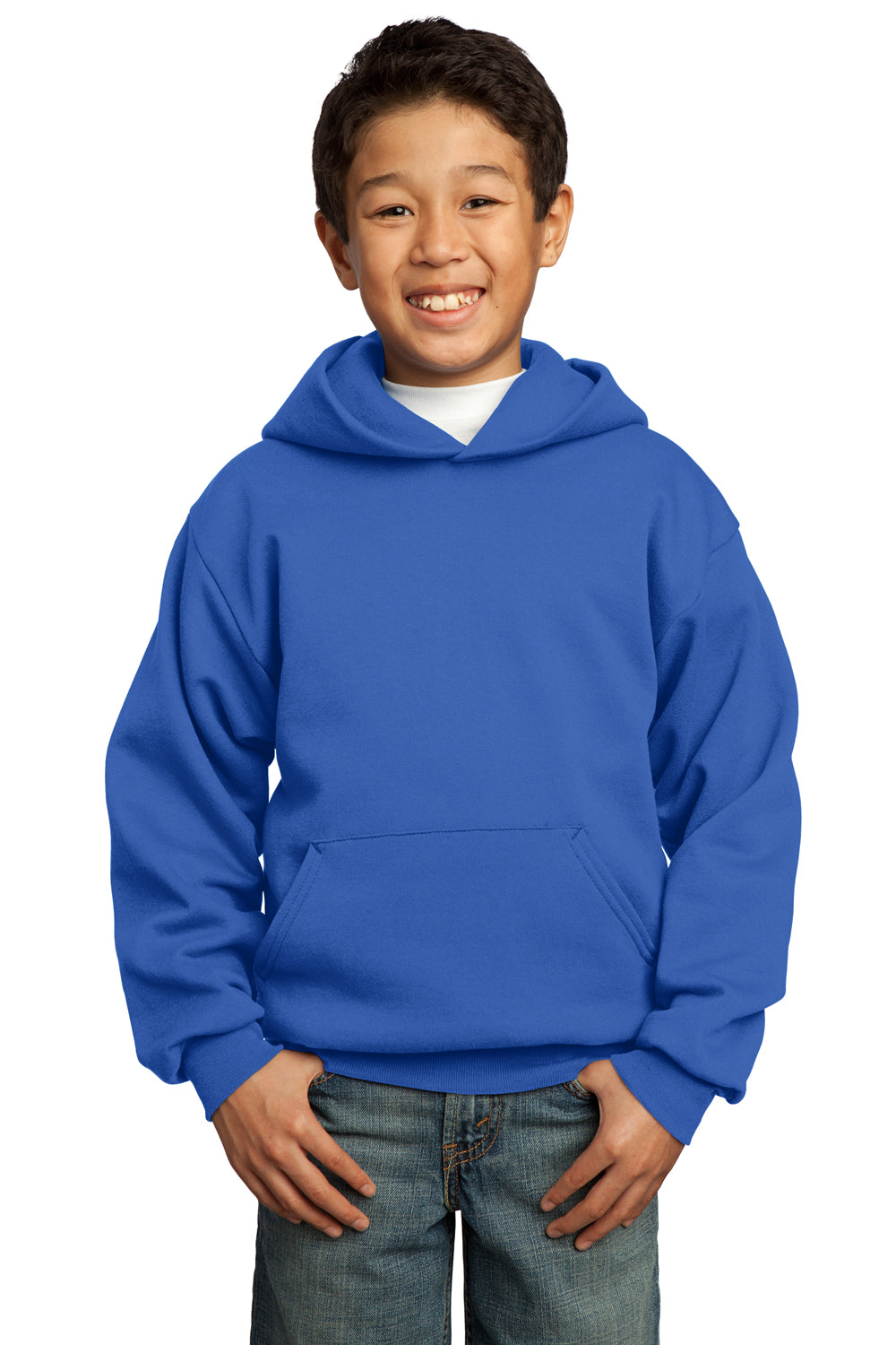 Port & Company PC90YH Youth Core Fleece Hooded Sweatshirt Hoodie Royal Blue Front