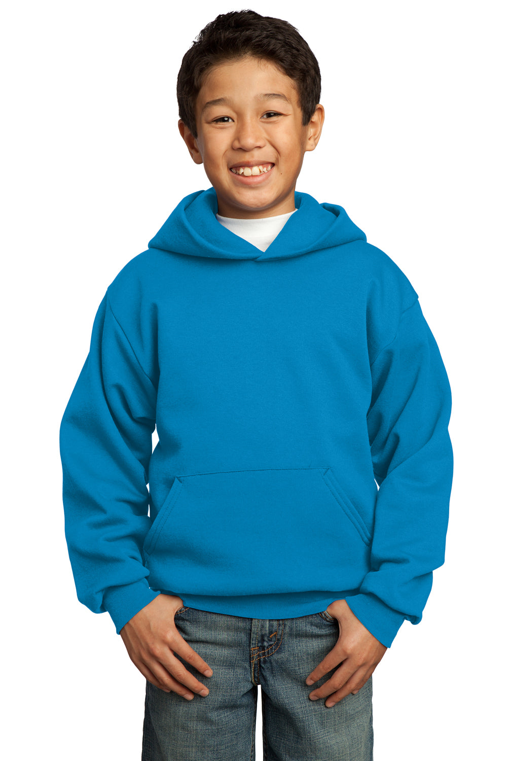 Port & Company PC90YH Youth Core Fleece Hooded Sweatshirt Hoodie Sapphire Blue Front