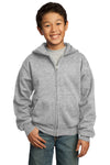 Port & Company PC90YZH Youth Core Fleece Full Zip Hooded Sweatshirt Hoodie Ash Grey Front
