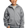 Port & Company Youth Core Fleece Full Zip Hooded Sweatshirt Hoodie - Heather Grey