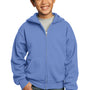 Port & Company Youth Core Fleece Full Zip Hooded Sweatshirt Hoodie - Carolina Blue