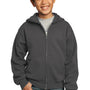 Port & Company Youth Core Fleece Full Zip Hooded Sweatshirt Hoodie - Charcoal Grey