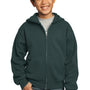 Port & Company Youth Core Fleece Full Zip Hooded Sweatshirt Hoodie - Dark Green