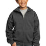 Port & Company Youth Core Fleece Full Zip Hooded Sweatshirt Hoodie - Heather Dark Grey