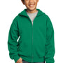 Port & Company Youth Core Fleece Full Zip Hooded Sweatshirt Hoodie - Kelly Green