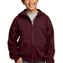 Port & Company Youth Core Fleece Full Zip Hooded Sweatshirt Hoodie - Maroon