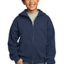 Port & Company Youth Core Fleece Full Zip Hooded Sweatshirt Hoodie - Navy Blue