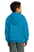 Port & Company PC90YZH Youth Core Fleece Full Zip Hooded Sweatshirt Hoodie Neon Blue Back