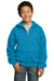 Port & Company PC90YZH Youth Core Fleece Full Zip Hooded Sweatshirt Hoodie Neon Blue Front