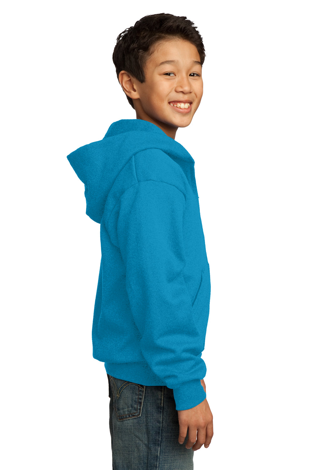 Port & Company PC90YZH Youth Core Fleece Full Zip Hooded Sweatshirt Hoodie Neon Blue Side
