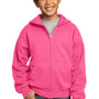 Port & Company Youth Core Fleece Full Zip Hooded Sweatshirt Hoodie - Neon Pink