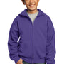 Port & Company Youth Core Fleece Full Zip Hooded Sweatshirt Hoodie - Purple