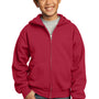 Port & Company Youth Core Fleece Full Zip Hooded Sweatshirt Hoodie - Red