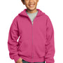 Port & Company Youth Core Fleece Full Zip Hooded Sweatshirt Hoodie - Sangria Pink