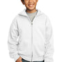 Port & Company Youth Core Fleece Full Zip Hooded Sweatshirt Hoodie - White