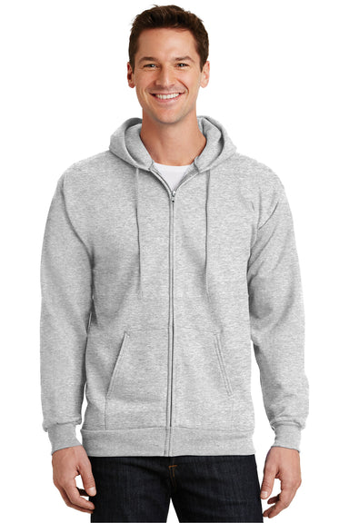 Port & Company PC90ZH Mens Essential Fleece Full Zip Hooded Sweatshirt Hoodie Ash Grey Front