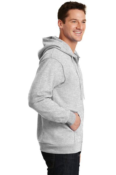 Port & Company PC90ZH Mens Essential Fleece Full Zip Hooded Sweatshirt Hoodie Ash Grey Side