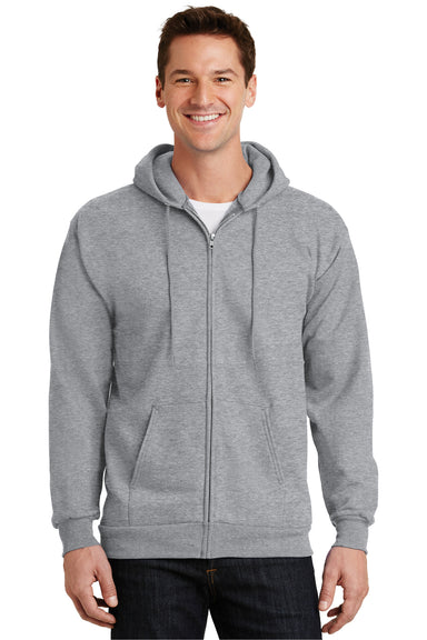 Port & Company PC90ZH Mens Essential Fleece Full Zip Hooded Sweatshirt Hoodie Heather Grey Front