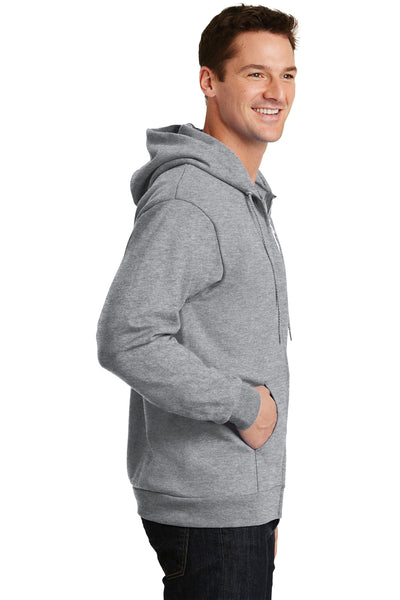 Port & Company PC90ZH Mens Essential Fleece Full Zip Hooded Sweatshirt Hoodie Heather Grey Side