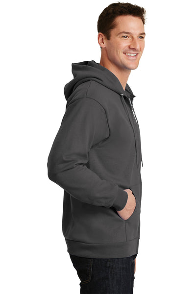 Port & Company PC90ZH Mens Essential Fleece Full Zip Hooded Sweatshirt Hoodie Charcoal Grey Side