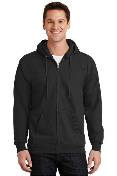 Port & Company PC90ZH Mens Essential Fleece Full Zip Hooded Sweatshirt Hoodie Black Front