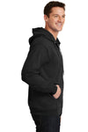 Port & Company PC90ZH Mens Essential Fleece Full Zip Hooded Sweatshirt Hoodie Black Side