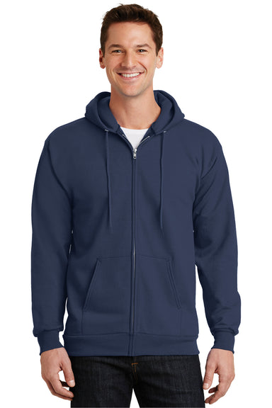 Port & Company PC90ZH Mens Essential Fleece Full Zip Hooded Sweatshirt Hoodie Navy Blue Front