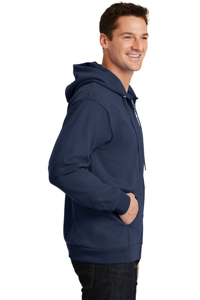 Port & Company PC90ZH Mens Essential Fleece Full Zip Hooded Sweatshirt Hoodie Navy Blue Side