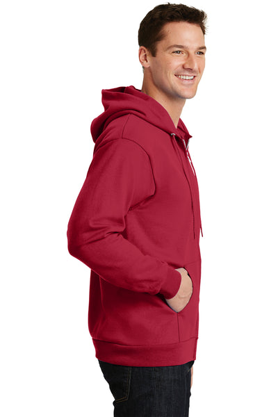 Port & Company PC90ZH Mens Essential Fleece Full Zip Hooded Sweatshirt Hoodie Red Side