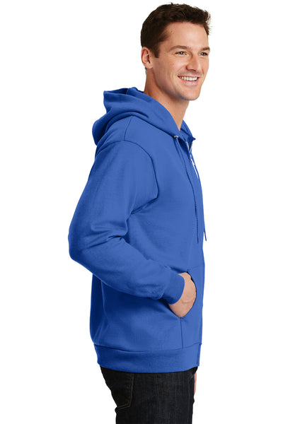 Port & Company PC90ZH Mens Essential Fleece Full Zip Hooded Sweatshirt Hoodie Royal Blue Side